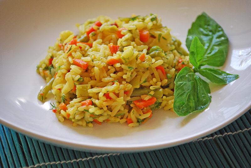 как приготовить рис с овощами к рыбе