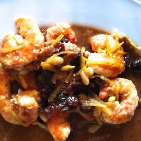 Креветки в крепком сладком соусе (gamberi in salsa dolceforte)