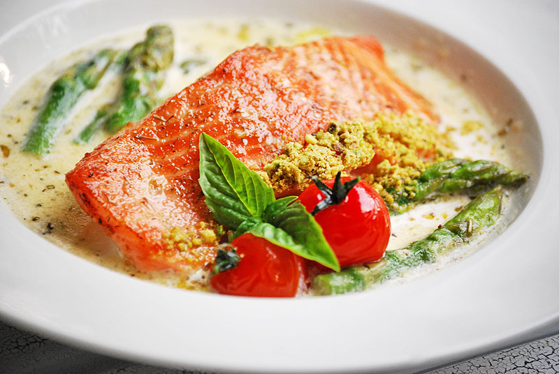 trout with creamy sauce